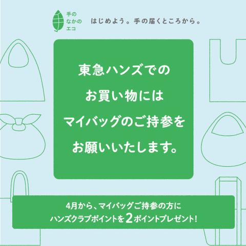 ハンズでのお買い物にはマイバッグのご持参を!手の届くところから、エコはじめませんか。