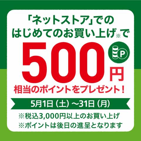 【ネットストアがお得】はじめてのお買い上げで500ポイントプレゼント! ~5/31(月)