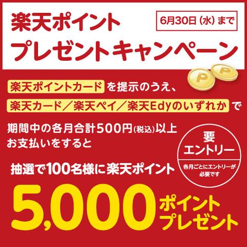 楽天ポイント ダブルで貯まる&ポイントが当たる プレゼントキャンペーン! ~6/30(水)