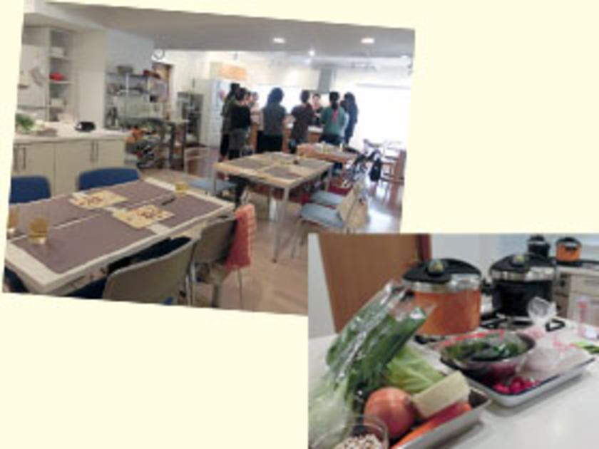 会場は目黒のキッチンスタジオ「スタジオ・メイユール別館」。ゆったりとしたキッチンスタジオで、さっそく体験会スタートです!