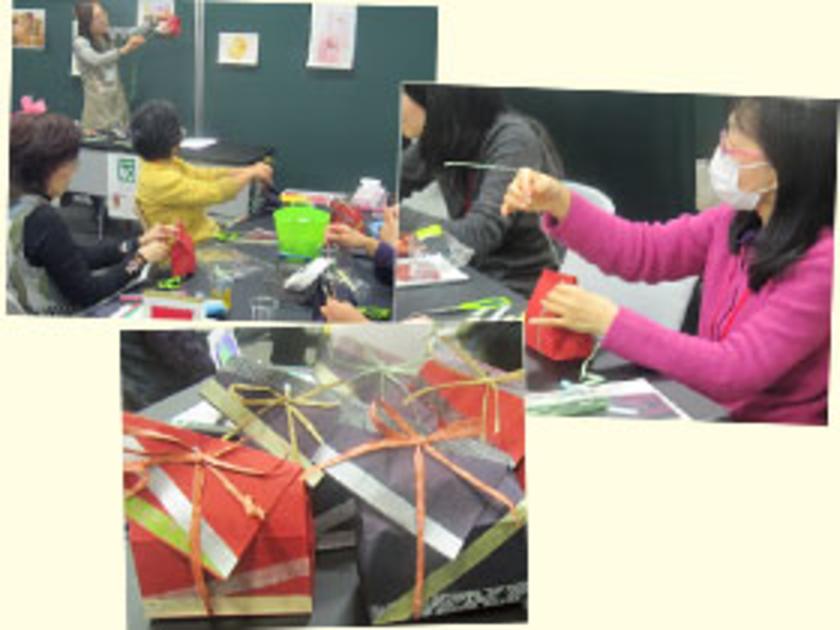 まずは紙のギフト袋によるラッピング。マスキングテープで袋を飾り、ヒモの結び方をアレンジして、シンプルな包み方に一味加えています。何を入れようか、ワクワクしちゃいますね!