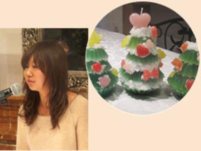 カメヤマキャンドルハウス専属のインストラクター三浦先生を講師に迎え、クリスマスキャンドルツリーをつくりました