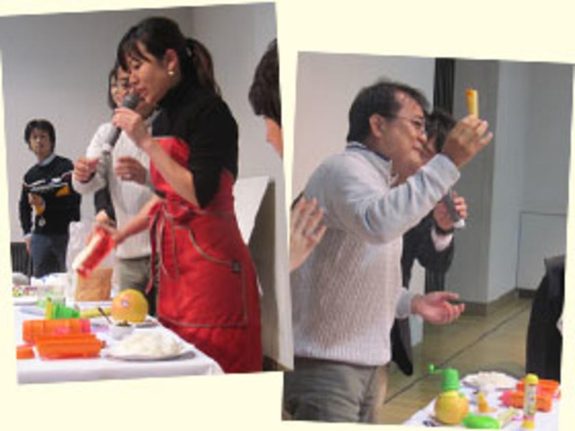 まずは宇留賀先生とタカラトーミーアーツの矢野さんによるレシピの紹介と使い方の説明から。見慣れないアイテムが多いですが、簡単に楽しく料理ができちゃいます!