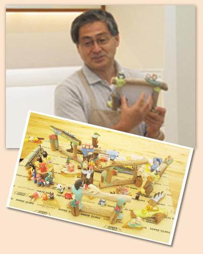 ぼくりゅう亭の、平野先生。なんでも粘土でつくってくれます。