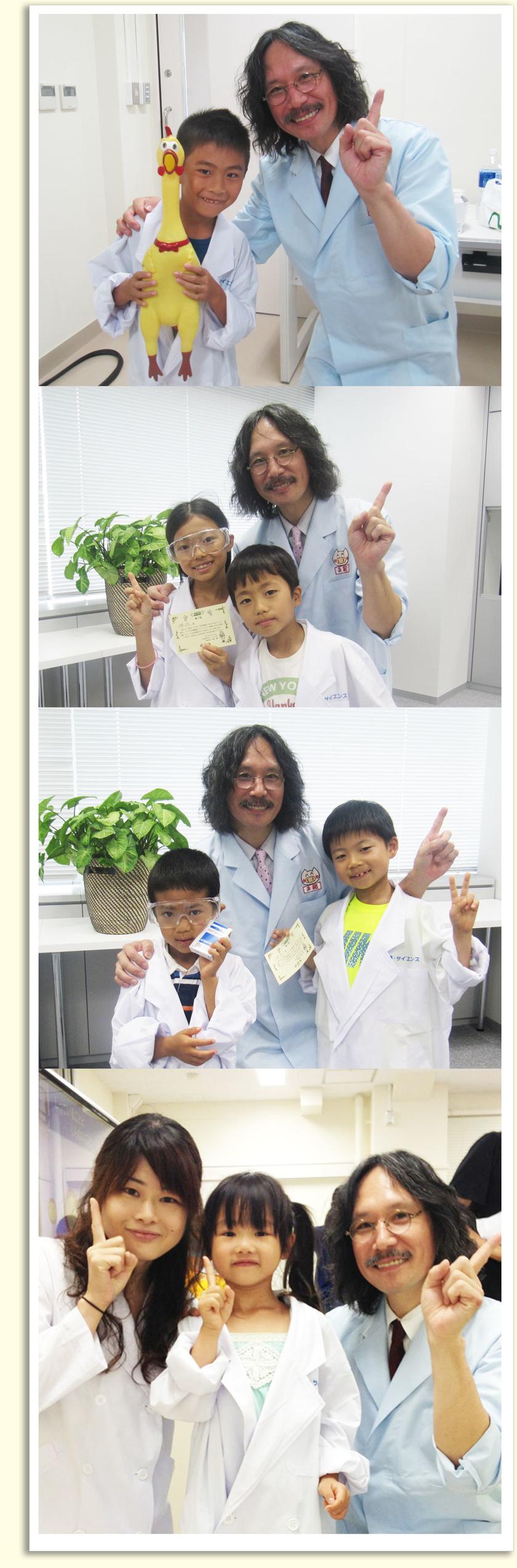 体験会後の一コマ。ピースではなく人差し指を一本立てるのが松延先生のポーズ!これから理科の実験や授業の時に、「松延先生とこんな楽しい実験をした!」と思い出してもらえたらとっても嬉しく思います!