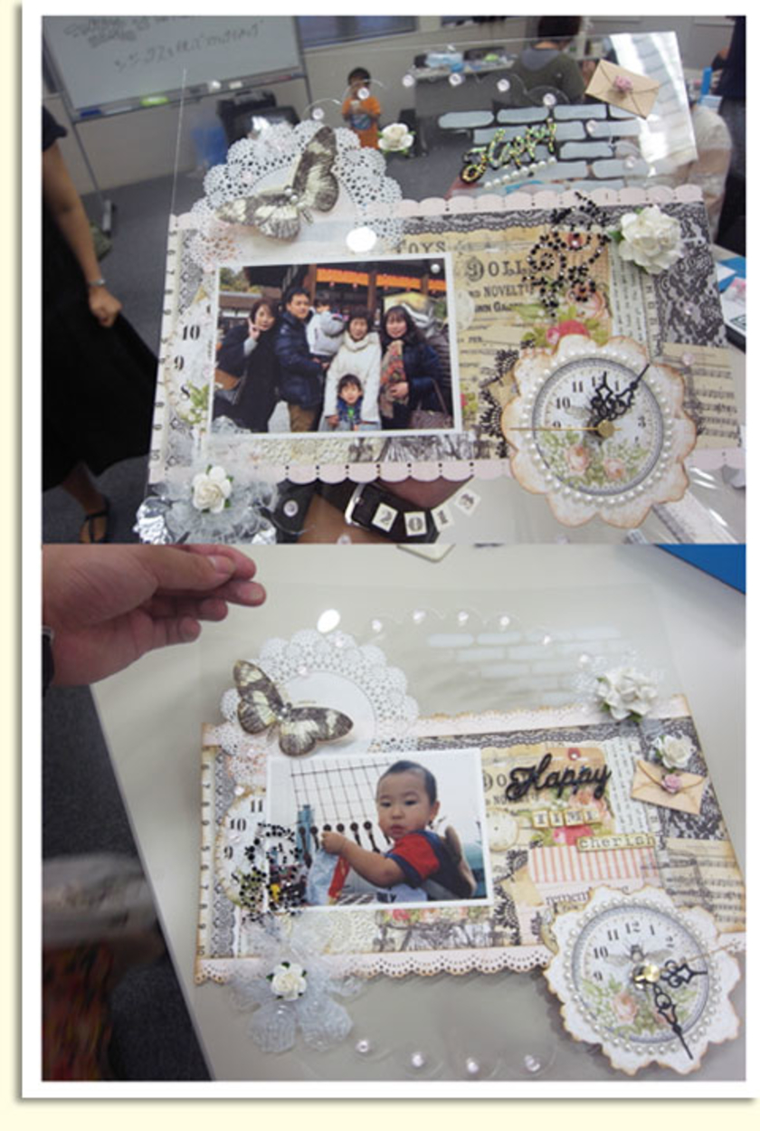 完成!ご家族やお子さんの写真がいっそう引き立つ、すばらしい作品になりました。時計を見るたびに、大切な人のことを思い出してくださいね。
