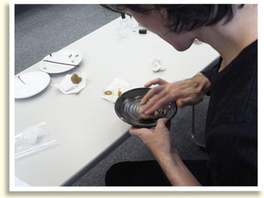 金粉は坂田さんに蒔いてもらいます。息を吹きかけて適度な湿り気を与えた真綿に、金粉をつけて蒔きます。蒔き終えたら、最後に真綿で金の表面をこすると、鮮やかに光ってきます!