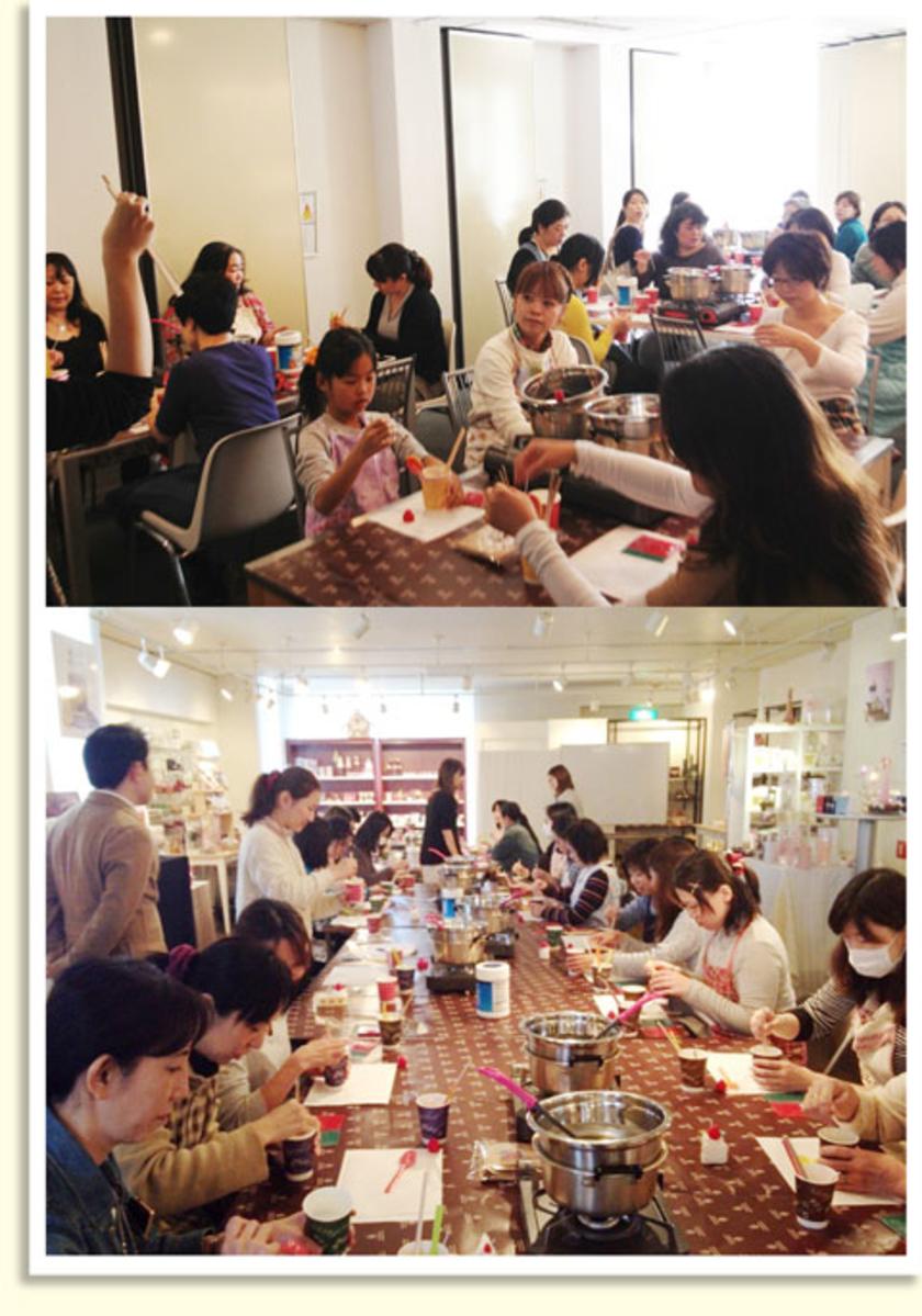 クリスマス特別企画!と題して行われた今回の体験会。キャンドルの老舗、カメヤマキャンドルハウスの東京・大阪ショールームにて開催されました。会場にはさまざまなキャンドルが並び、とってもいい匂いがしましたよ。