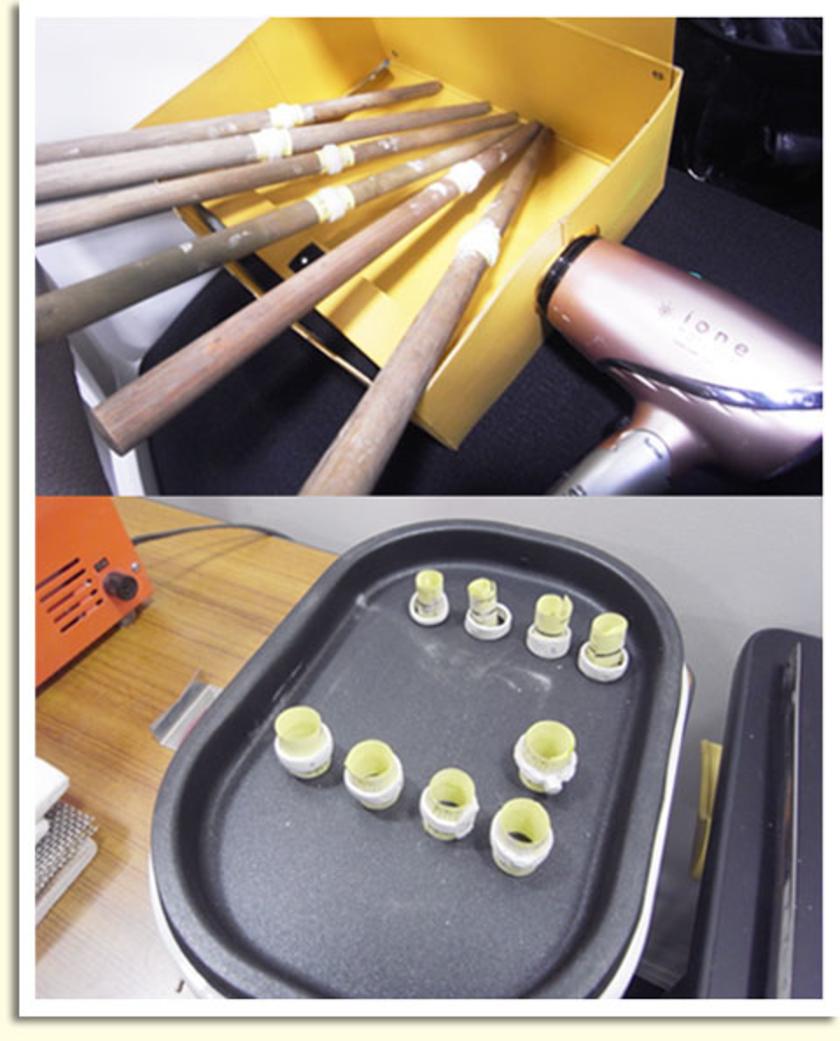 リングの形になったら、乾燥!!ドライヤーは分かるとして…なぜホットプレート?というつっこみが聞こえてきそうですが(笑) 温めて水分を飛ばすことで乾燥ができるとのこと。料理用のもので十分代用できます。