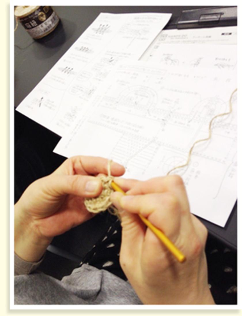 立ち上がりの一目(編み物の最初の編み目のこと)を編んだら地道に円形に編んでいきます。