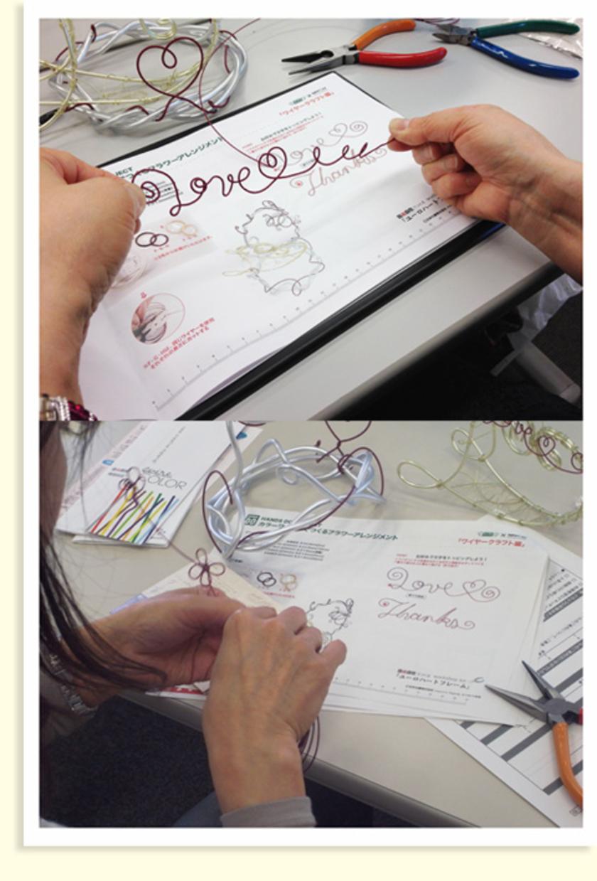 さらに細いワイヤーで、今度は装飾用のパーツをつくります。型紙に合わせてメッセージをつくったり、お花をつくったりと、みなさん自由に飾りつけてくれました!