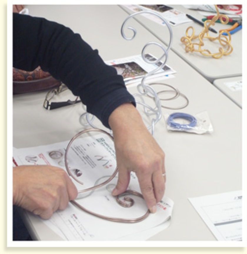 土台ができたら、原寸大の型紙に合わせて細めのワイヤーを曲げていきます。ワイヤーを立体的に重ねていくと、バラを飾るカゴの部分になります。