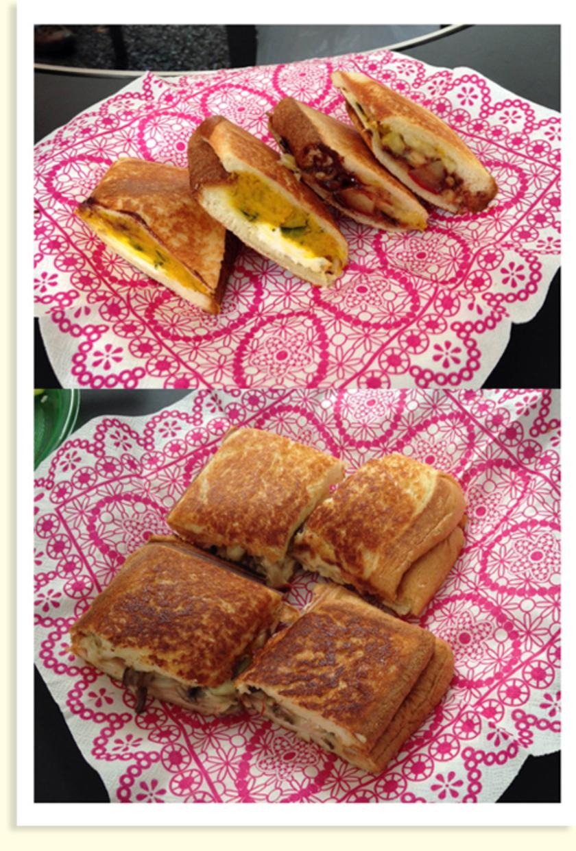 完成です!チーズやハムを入れたランチにピッタリのサンドイッチや、チョコレートやバナナをいれたスイーツ風など、たくさんのサンドイッチができました!