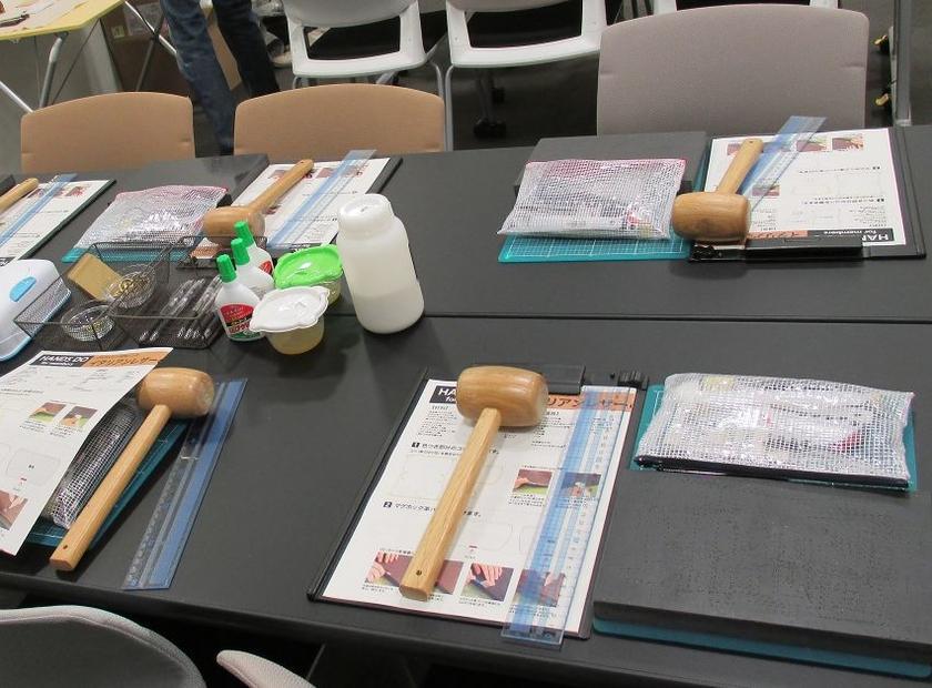 今回つかった道具はコチラ。体験会のレザークラフトイベントは道具をすべてお貸しするので手ぶらで参加OKです。