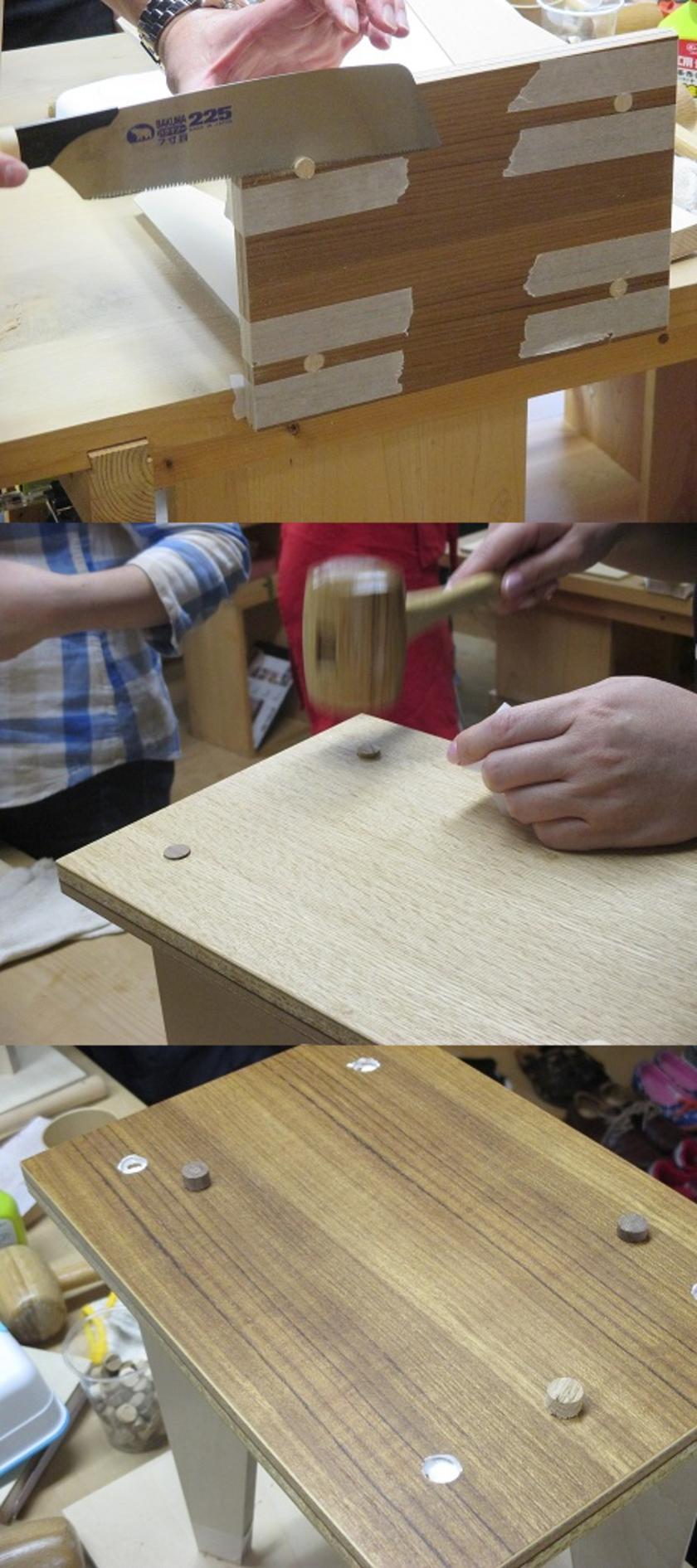 木栓は天板の色に合わせて2種類ご用意。木栓を木槌で叩きながら埋め込みます。はみ出し部分はノコギリでカットします。マスキングテープで養生したり紙をあてて、天板にキズがつくのを防ぎます。