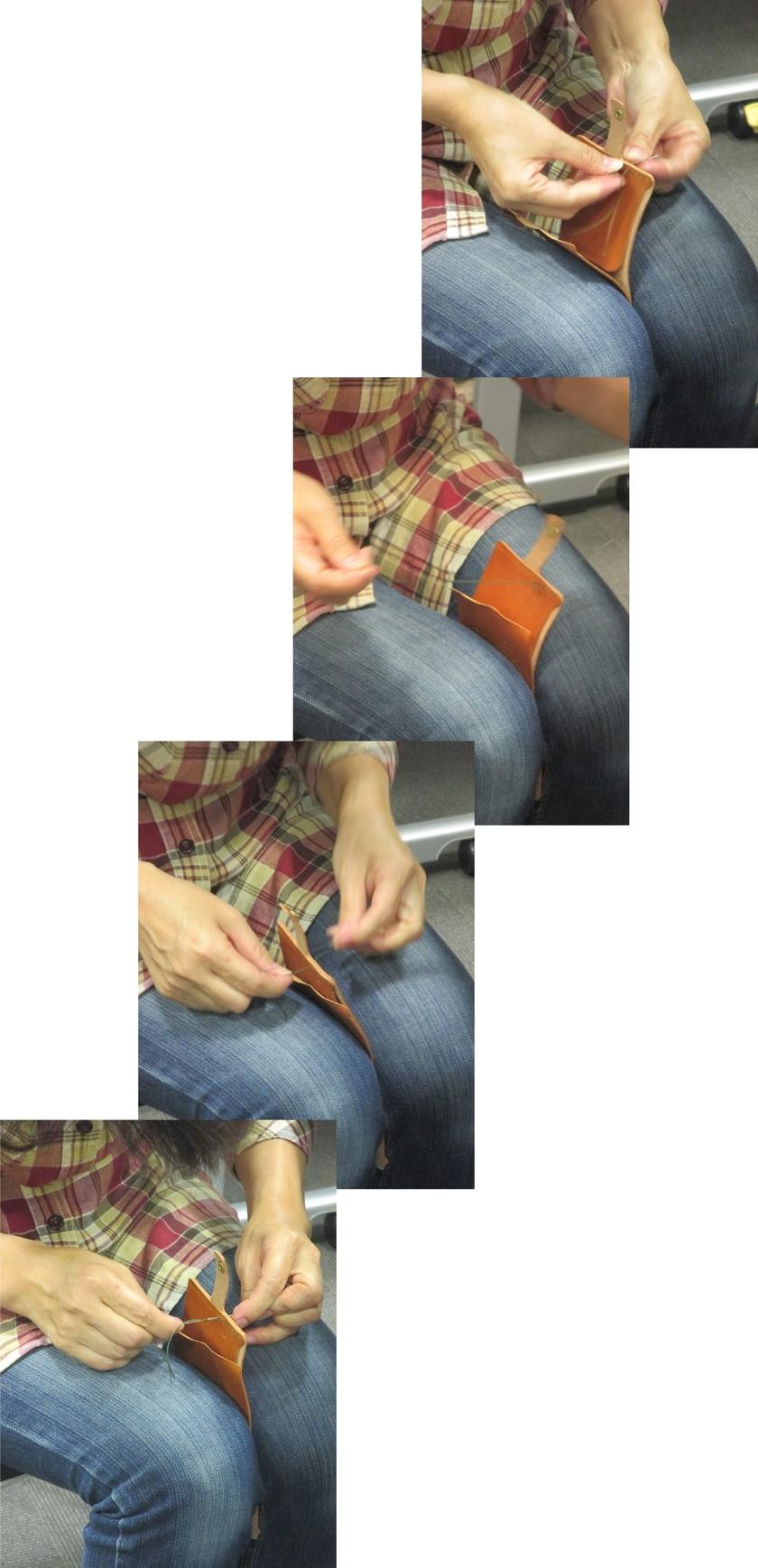 膝で抑えながら縫うと、安定して縫いやすいです