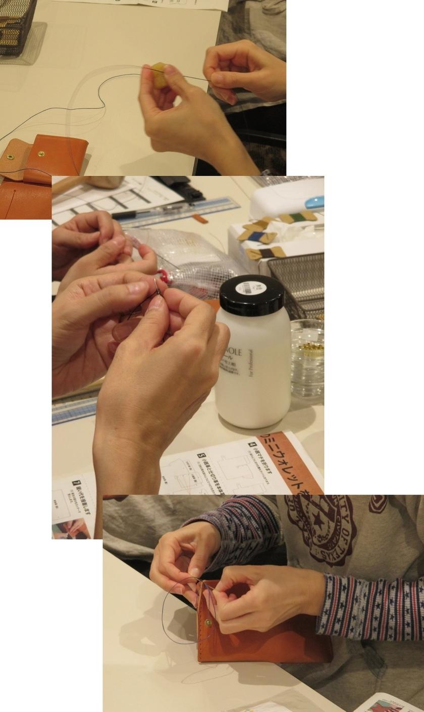 下穴が開いたら、縫い糸の色をお選びいただきます(5色あります)。糸は縫い上げ前の下処理としてロウ引きをして、糸の表面を整えます。