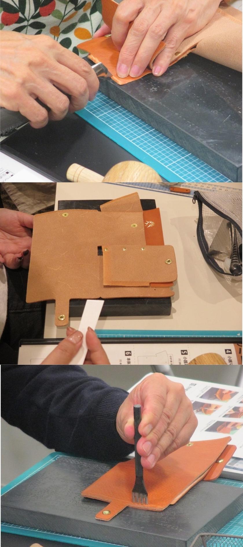 革を縫い付ける工程です。縫い付ける前に本体の型を整えて、縫い代に接着剤をのせて仮留めをします。その際、接着剤をのせ易くする為に、カッターの刃で縫い代を荒らします。接着剤で仮留めをしたら、菱目打ちで針を通す下穴を開けます。