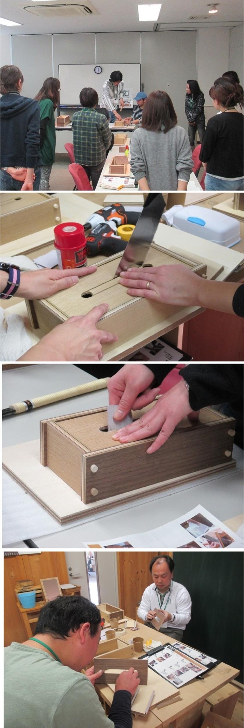 木栓はボンドが乾くまで少し時間がかかります。その間にティッシュの取り出し口をノコギリで切り出します。まずは先生がお手本をお示しします。切り口は紙やすりで滑らかに仕上げます。