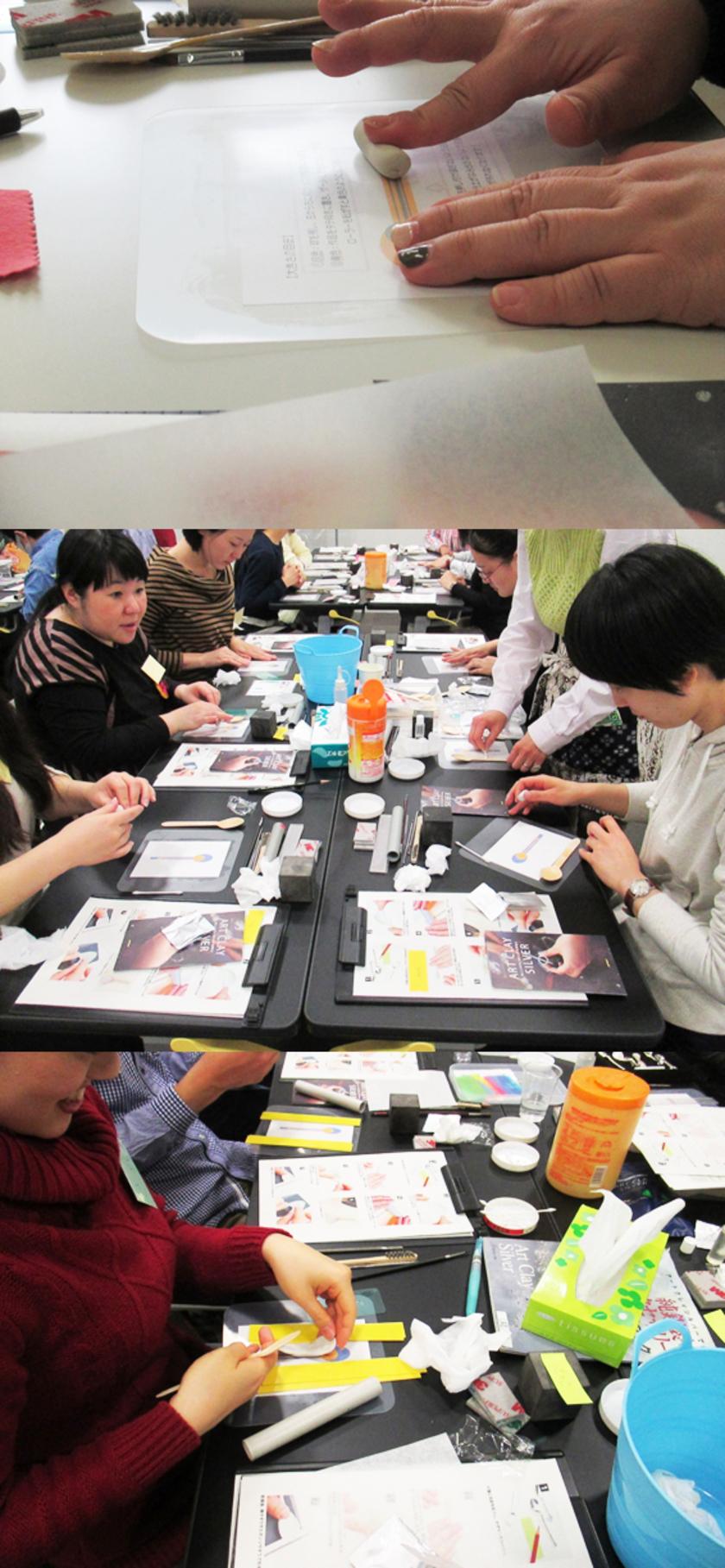 今回も東京・大阪会場の様子を合わせてレポートします。まずはデザインを考えて、おのおの銀粘土でスプーンの形をつくります。