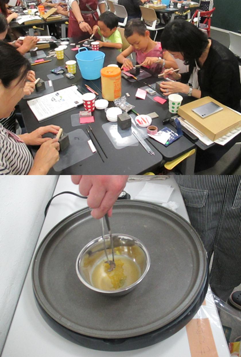 焼成が終わったら、表面をステンレスブラシで全体を磨き、さらに磨き棒で擦りピカピカに。いぶし銀にしたい場合は専用の液につけて黒くしてから磨きます。