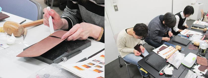 カードを入れる部分の革を重ね、ゴムノリで仮止めし、縫い穴を開けてサドルステッチで縫い合わせます。