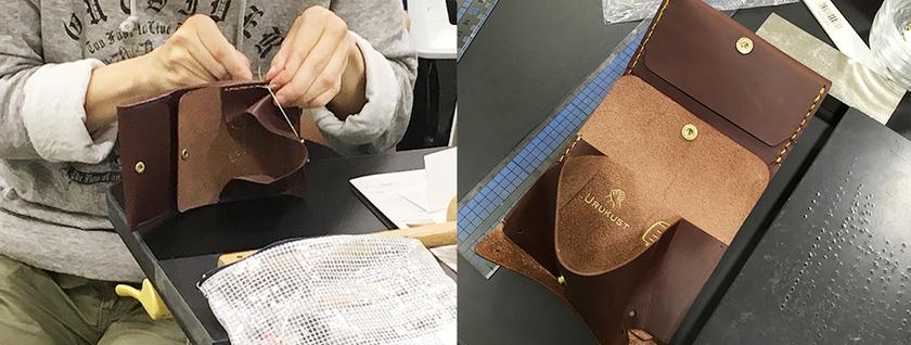 小銭入れの部分を縫い合わせ、カシメで底を止めます。
