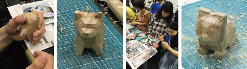 大まかな形ができたら、彫刻刀で彫っていきます。はしもと先生は、みなさんの各々つくりたいワンちゃんのお顔をみながら、彫刻刀で目の彫り方・位置なとをアドバイスしてくれました。