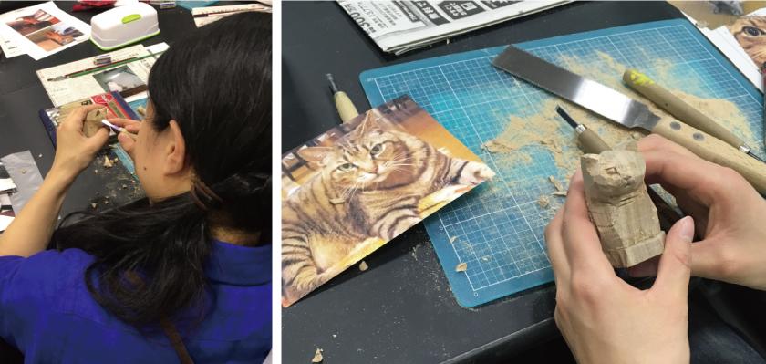 先生に片方の目を彫ってもらうと、ぐっとリアルな表情に、中には両方彫って欲しいという声もあがりましたが、みなさん勇気をもって自分のネコちゃんを完成させていきました。