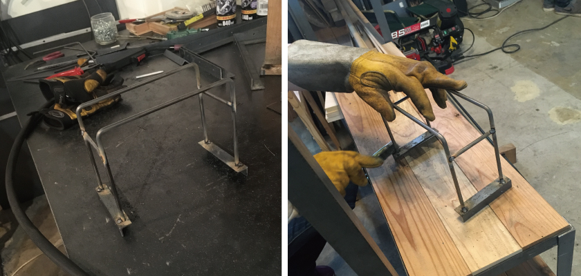 無事、アイアン部分が組み立てられました。この段階ではしばらく熱く、革の手袋をしたまま、金属ブラシで磨きます。
