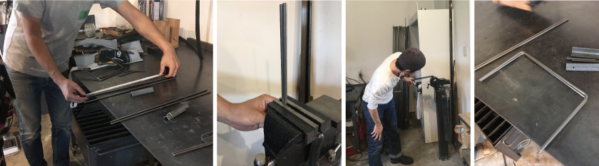 まず、アイアン(鉄)部分を加工します。鉄の丸棒を正確に測って、万力に固定し、専用につくった鉄パイプをかぶせてテコの原理で曲げます。