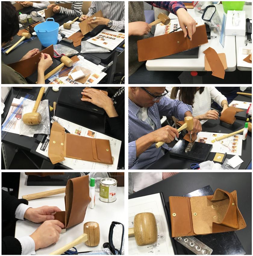 平らな革のパーツがお財布へと組み上がっていきます。