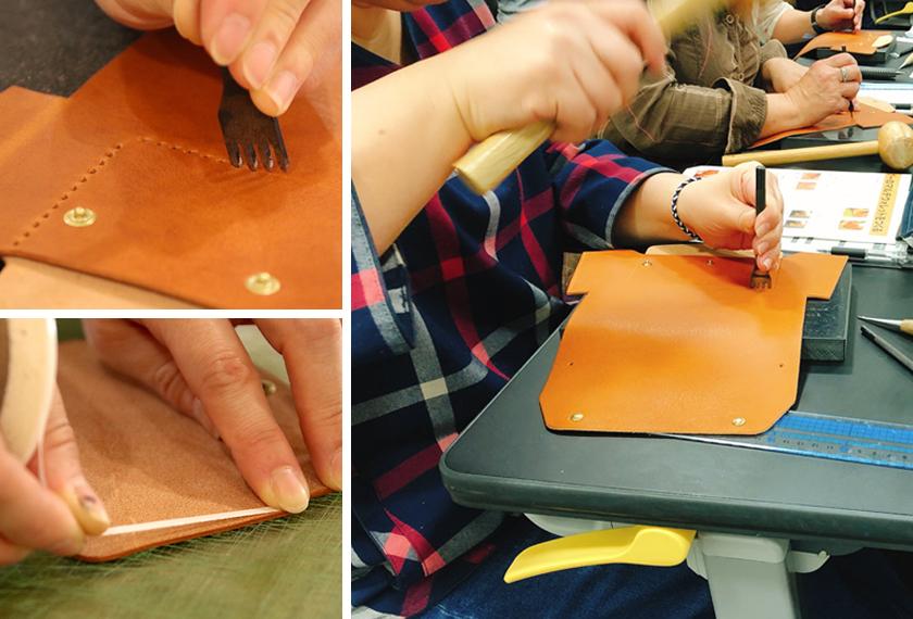 外ポケットには両面テープを貼り接着し、縫い穴をあけてサドルステッチで縫います。(サドルステッチとは、1本の糸の両端にそれぞれ針をつけ、表裏同時に縫い合わせる手法です。)縫い穴を開けるときは、革に対して垂直に打つことがポイントです!