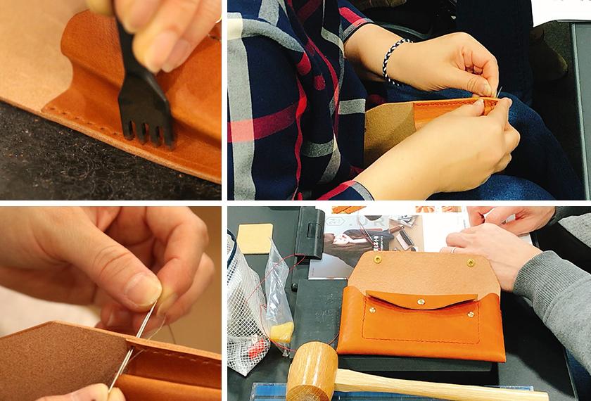 マチに縫い穴をあけて縫い、コバ磨きをして最終仕上げをします。