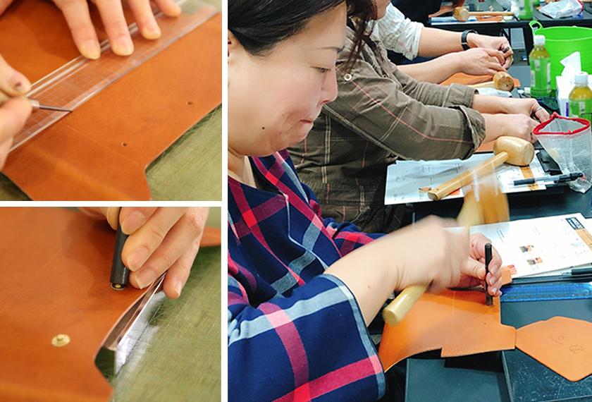 次は外ポケットを縫い付けるための縫い線をひいて、ホックを取り付けます。