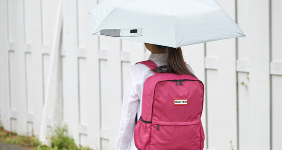 Raining? No Problem! We have some fancy popular brand like HUNTER backpacks to lighten up your mood!